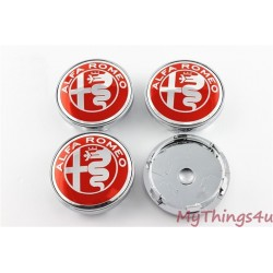 Alfa Romeo Hub Caps 60mm - RED-SILVER