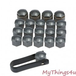Wheel Bolt Caps + Lock Bolt 17mm - Black
