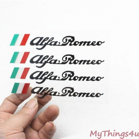 Alfa Romeo Stickers - 13 x 2.2cm Black