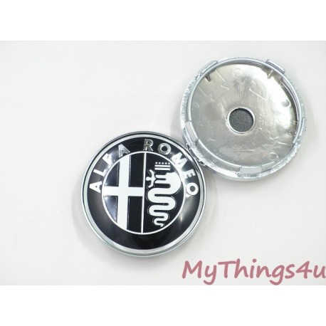 Alfa Romeo Hub Caps 56mm - BLACK-WHITE