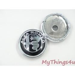 Alfa Romeo Hub Caps 56mm - BLACK-SILVER