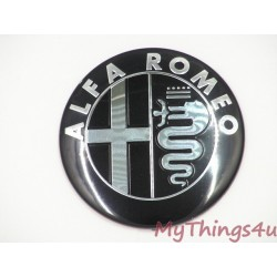 Alfa Romeo front-tail Emblem 74mm BLACK-SILVER DeLuxe