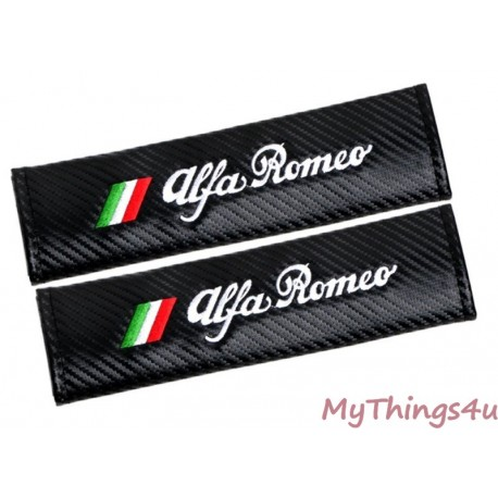 Embroidered Safety Belt Covers Tricolore Alfa Romeo