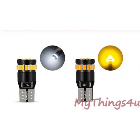 LED W5W (T10) WHITE or YELLOW - 100% NO CANBUS ERROR - SUPER BRIGHT - 2 PIECES