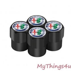 Alfa Romeo Tire Valve Dust Caps -  BLACK-NUOVO